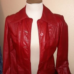 Retro Red Leather Jacket